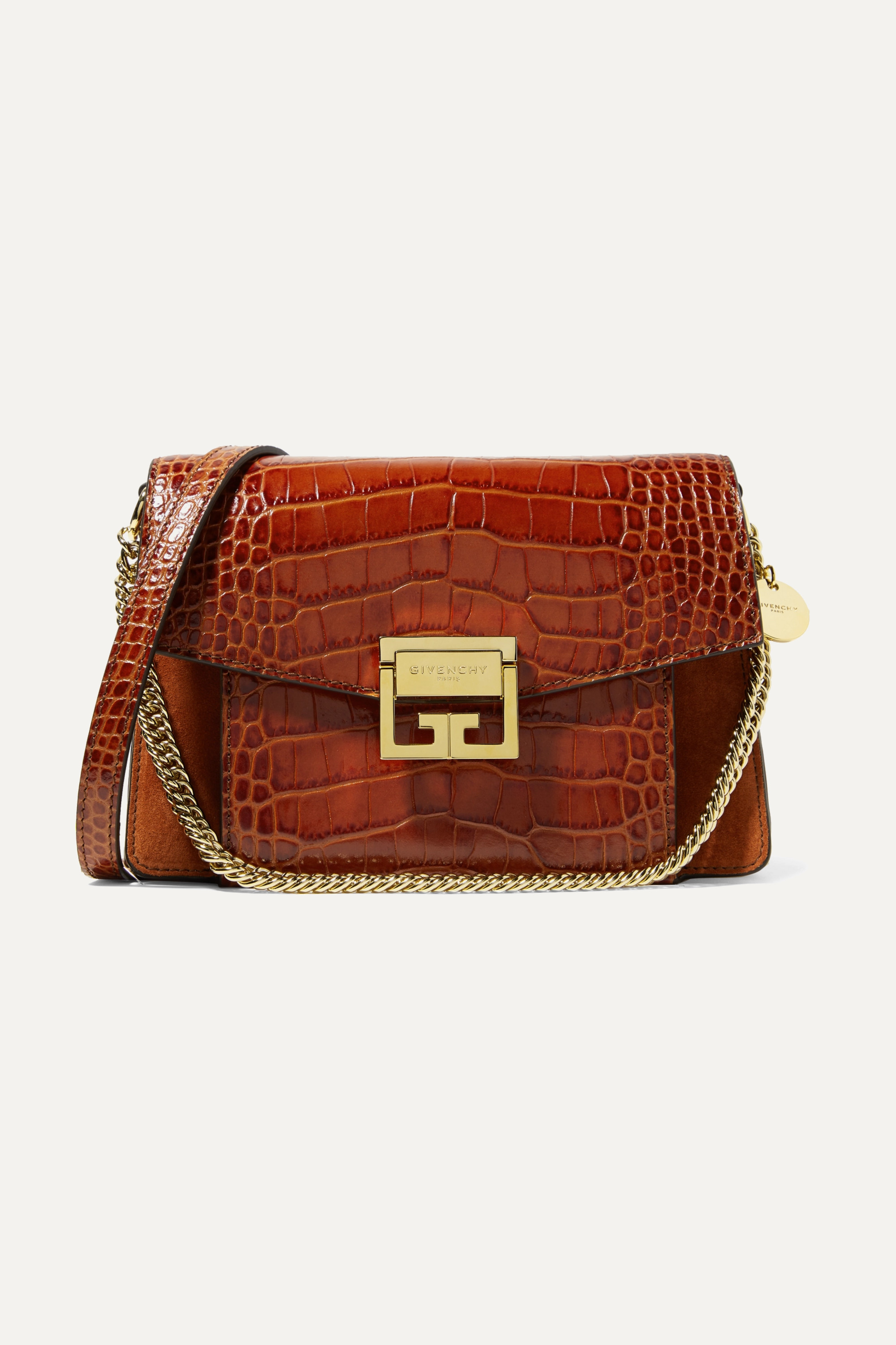 Givenchy GV3 small croc-effect leather and suede shoulder bag