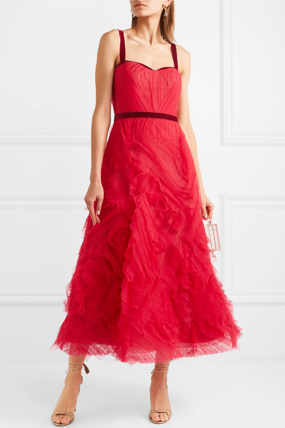 Marchesa Notte Velvet-trimmed layered tulle gown