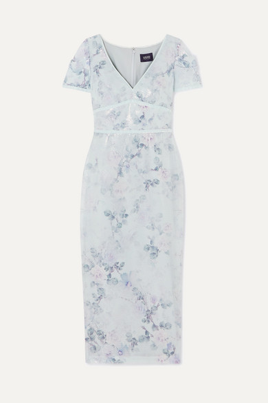 MARCHESA NOTTE | Marchesa Notte - Sequined Floral-Print Crepe Midi Dress - Light Blue | Goxip