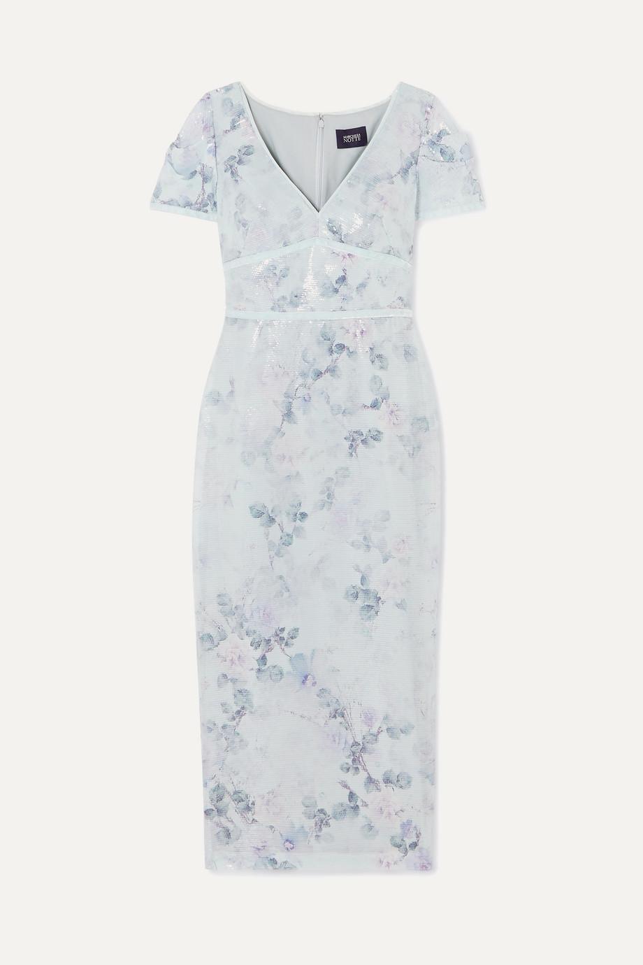 Marchesa Notte | Sequined floral-print crepe midi dress | NET-A-PORTER.COM
