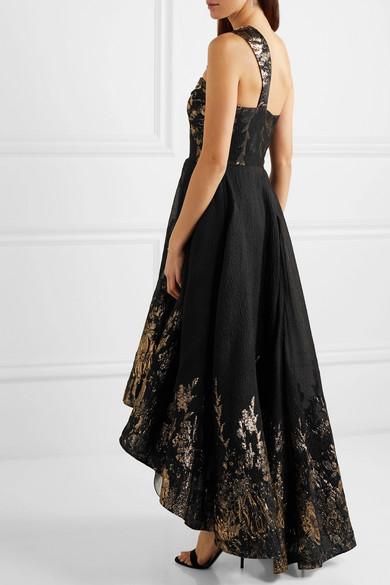 Marchesa Notte Dresses One-shoulder metallic fil coupé cloqué gown