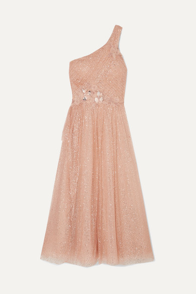 MARCHESA NOTTE | Marchesa Notte - One-Shoulder Appliquéd Glittered Tulle Gown - Pink | Goxip