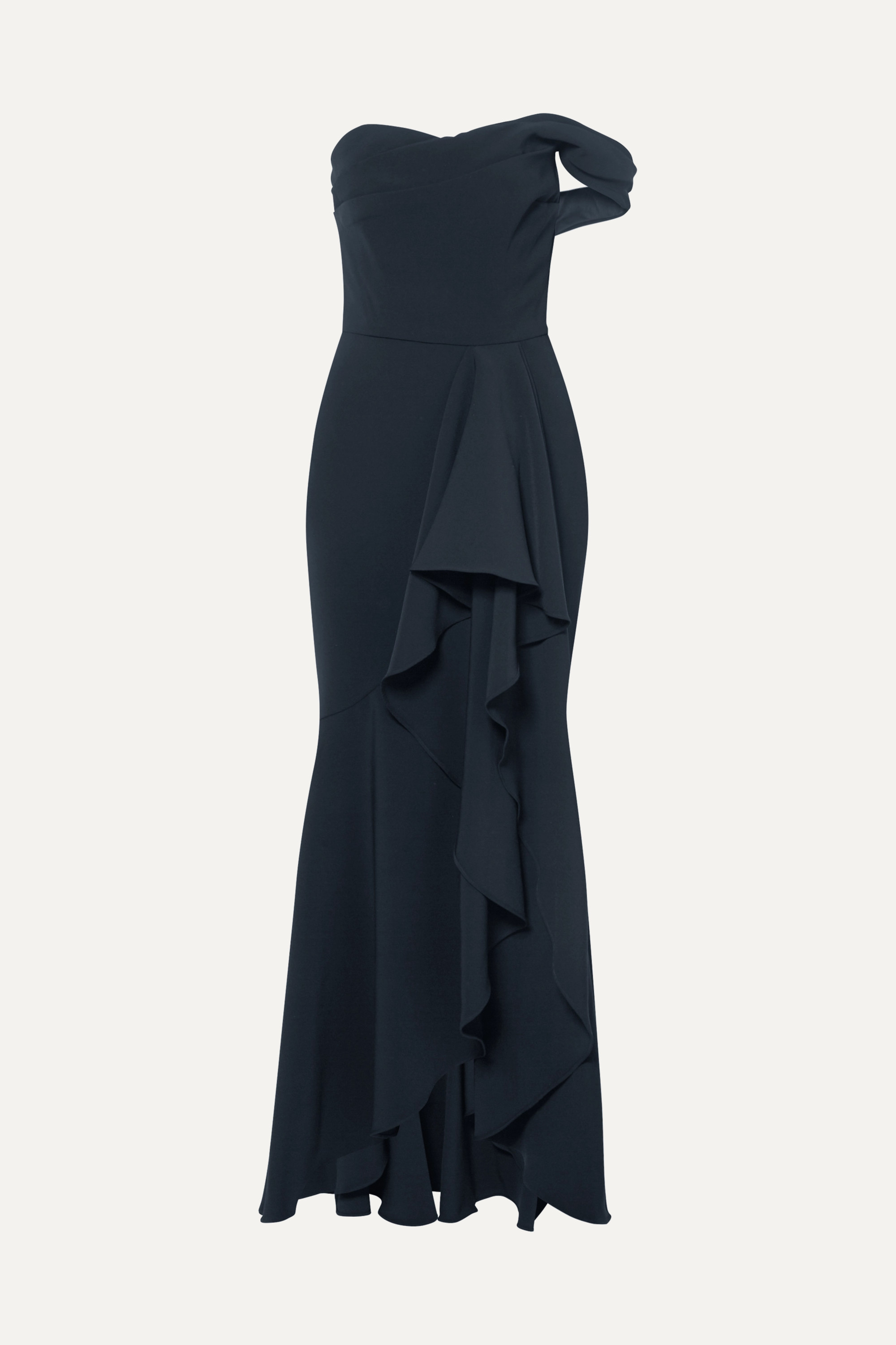 Navy Off The Shoulder Draped Crepe Gown Marchesa Notte Net A Porter