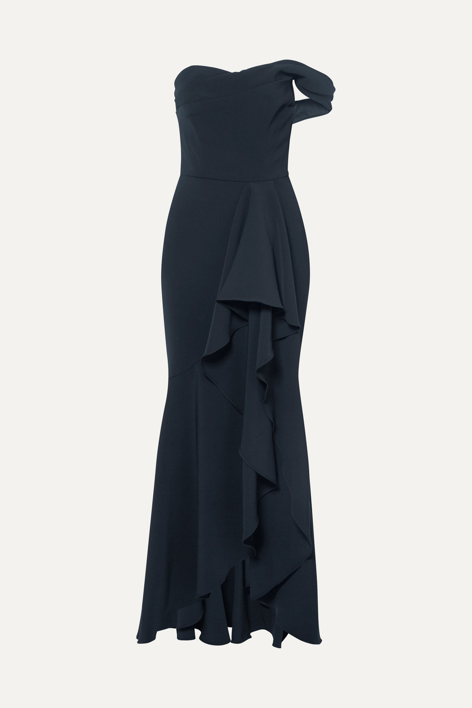 Marchesa Notte Off-the-shoulder draped crepe gown