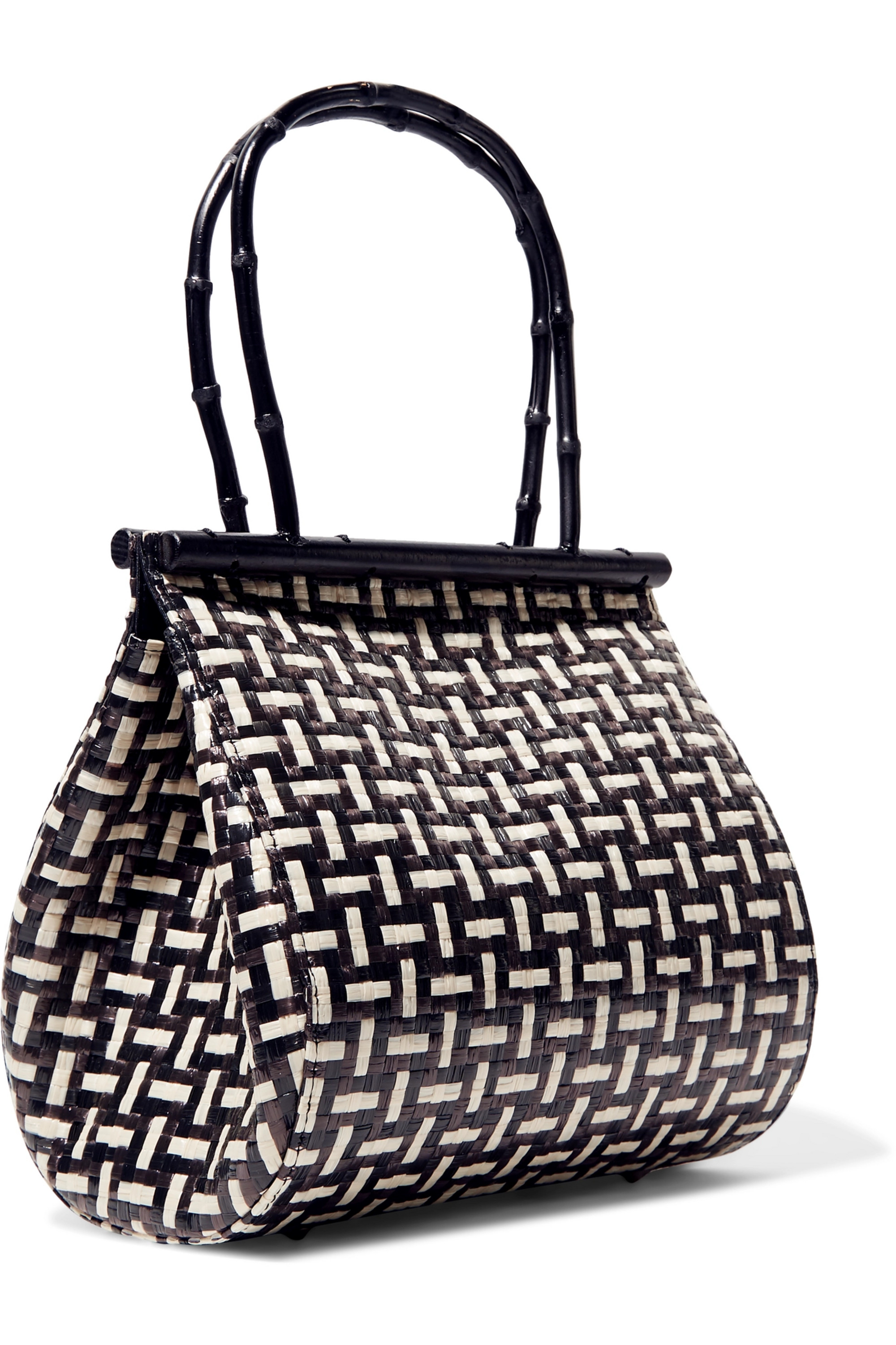 Cult Gaia Via woven straw and bamboo tote