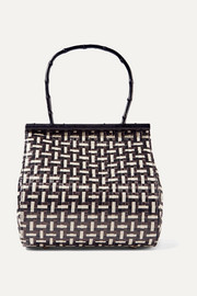 Via woven straw and bamboo tote