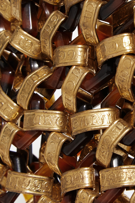 Cult Gaia Sac à main en métal doré et en acrylique effet écaille Mia