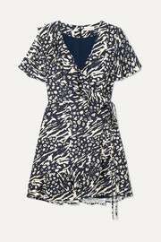 Rebecca Vallance Flores wrap-effect ruffled printed crepe mini dress