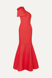Rebecca Vallance Francesca one-shoulder bow-detailed cloqué gown