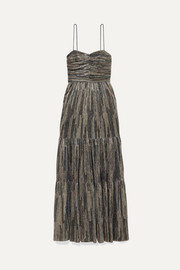 Rebecca Vallance Bellagio tiered Lurex maxi dress