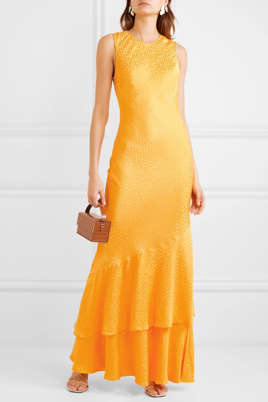 Rebecca Vallance Isobella satin-jacquard maxi dress