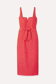 Rebecca Vallance Francesca belted textured-crepe midi dress