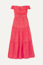 Rebecca Vallance Holliday off-the-shoulder polka-dot linen-blend dress
