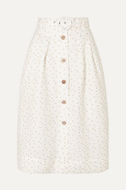Holliday belted polka-dot linen-blend skirt