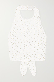 Holliday cropped polka-dot linen-blend halterneck top