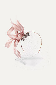 Philip Treacy Crystal-embellished mesh and buntal fascinator