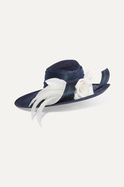 Philip Treacy Buntal and organdie-trimmed sinamay straw hat