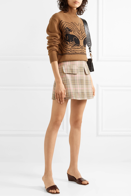 ALEXACHUNG Cropped intarsia wool turtleneck sweater