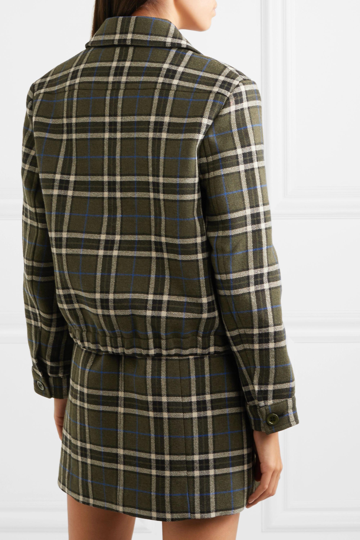 ALEXACHUNG Cropped plaid twill jacket