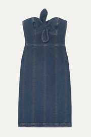 ALEXACHUNG Strapless bow-detailed denim dress