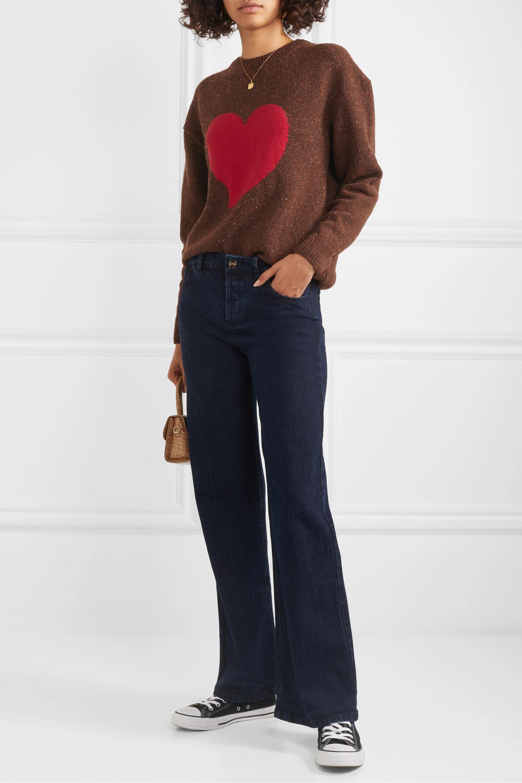 ALEXACHUNG Heart intarsia wool-blend sweater