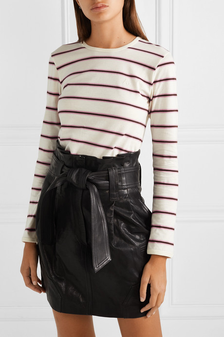 Striped cotton-jersey top