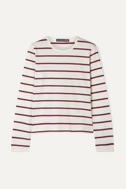 ALEXACHUNG Striped cotton-jersey top