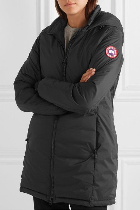 Camp hooded quilted ripstop down jacket