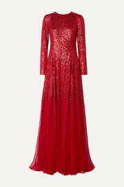 Sequined silk-chiffon gown