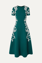 Oscar de la Renta Embroidered wool-blend crepe midi dress