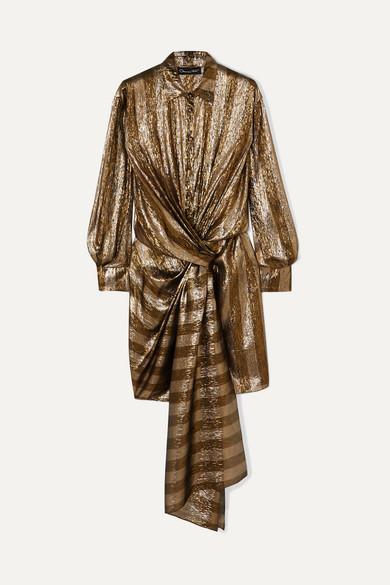 Oscar De La Renta Dresses Twist-front striped silk-blend lamé mini dress