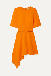 Oscar de la Renta Asymmetric wool-blend crepe mini dress