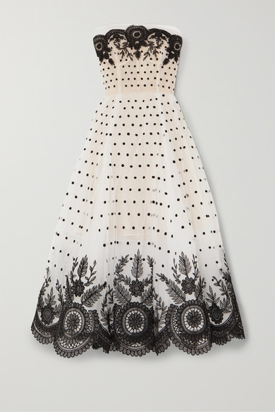 Oscar De La Renta Dresses Strapless embroidered tulle gown