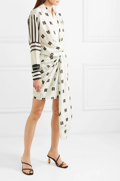 Twist-front printed modal and silk-blend mini dress