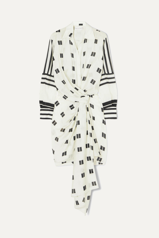 Oscar de la Renta Twist-front printed modal and silk-blend mini dress
