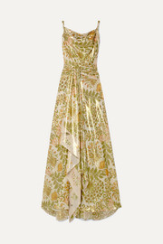 Oscar de la Renta Draped ruched printed silk-blend lamé gown