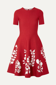 Oscar de la Renta Intarsia stretch-knit dress