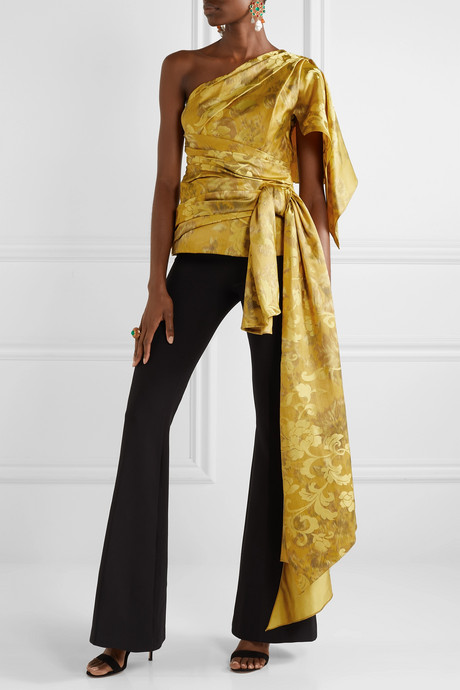 One-shoulder draped ruched silk-jacquard top