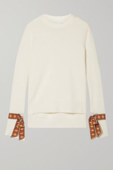 Oscar De La Renta Knits Jacquard-trimmed merino wool and silk-blend sweater