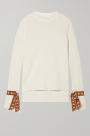 Oscar de la Renta Jacquard-trimmed merino wool and silk-blend sweater