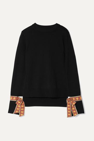 Jacquard Trimmed Merino Wool And Silk Blend Sweater by Oscar De La Renta