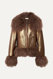 Shearling-trimmed metallic leather bomber jacket