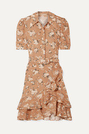 Michael Kors Collection Belted ruffled floral-print silk-georgette mini dress