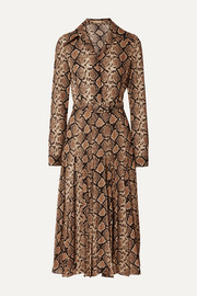 Belted snake-print silk-crepe midi dress