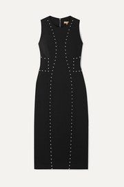 Michael Kors Collection Studded wool-blend crepe dress