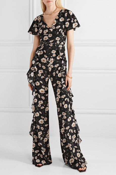 Belted ruffled floral-print silk crepe de chine jumpsuit
