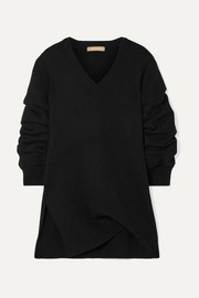 Michael Kors Collection Asymmetric ruched cashmere sweater