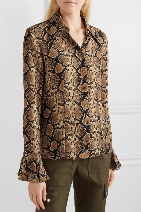 Snake-print crinkled silk-georgette blouse