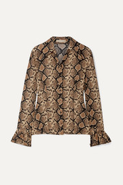 Michael Kors Collection Snake-print crinkled silk-georgette blouse