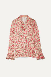 Michael Kors Collection Ruffled floral-print silk-jacquard shirt